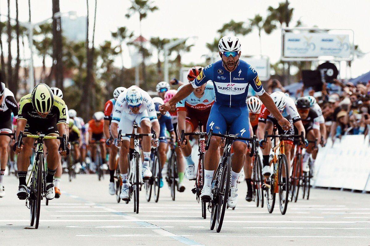 Fernando Gaviria (Quick-Step) durante el Tour de California 2018. (Fuente: Twitter).