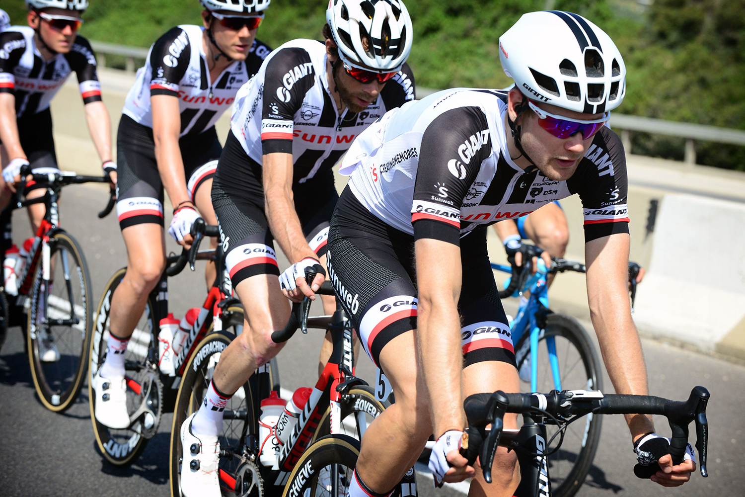 Tel Aviv - Israel - wielrennen - cycling - cyclisme - radsport -  Lennard HOFSTEDE (Netherlands / Team Sunweb) - Laurens TEN DAM (Netherlands / Team Sunweb) - Louis VERVAEKE (Belgium / Team Sunweb) - Sam OOMEN (Netherlands / Team Sunweb)  pictured during the 101st Giro d'Italia 2018 - stage 2 from Haifa to Tel Aviv (167 KM) - photo Brian Hodes/Cor Vos © 2018