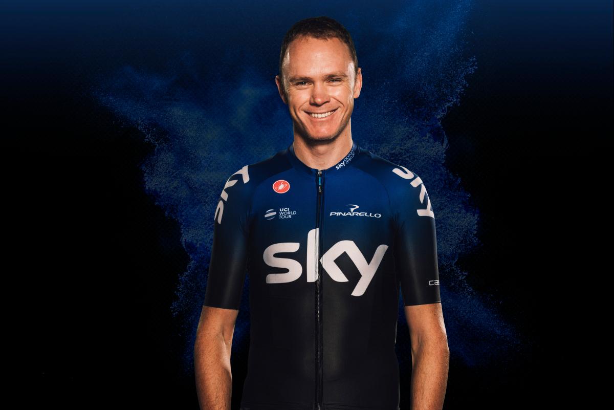 El británico Chris Froome con el nuevo maillot del Team Sky. (Foto: Sky).