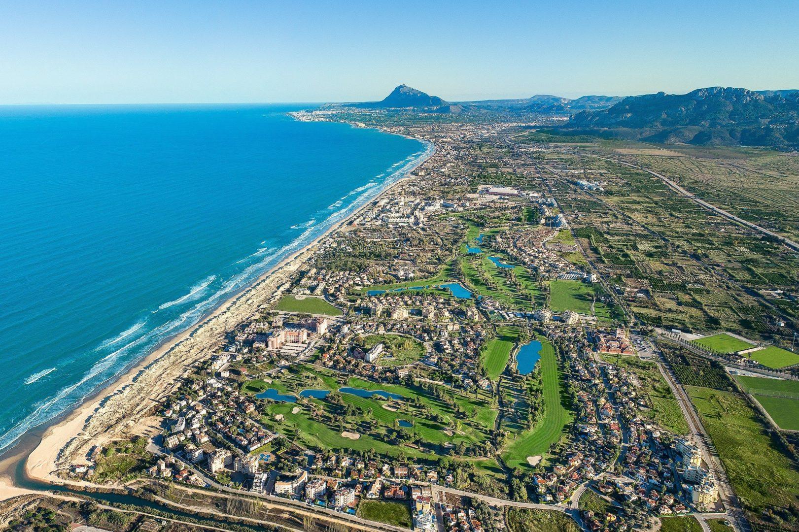 Vista desde el aire de la zona donde se hospedará el equipo español.