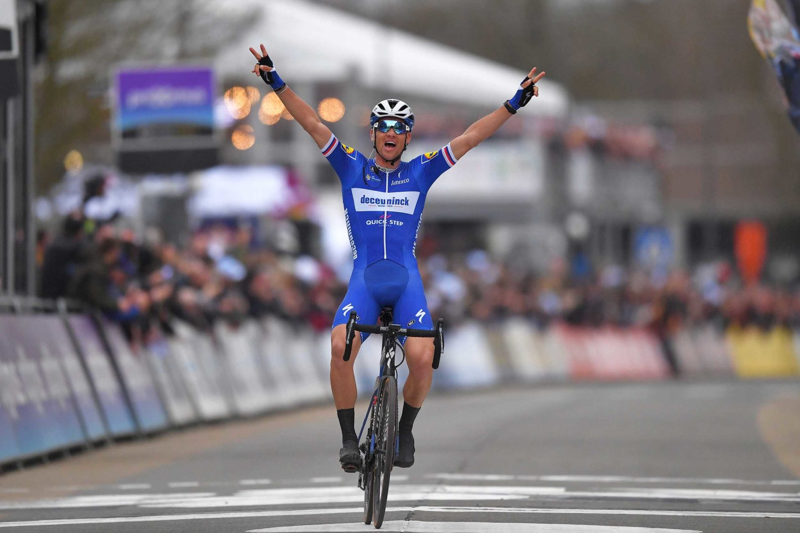NINOVE, BELGIUM - MARCH 02: Arrival / Zdenek Stybar of Czech Republic  and Team Deceuninck Quick-Step / Celebration / during the 74th Omloop Het Nieuwsblad 2019 a 200km race from Gent to Ninove / FLanders Classics / @OmloopHNB / on March 02, 2019 in Ninove, Belgium. (Photo by Tim de Waele/Getty Images)