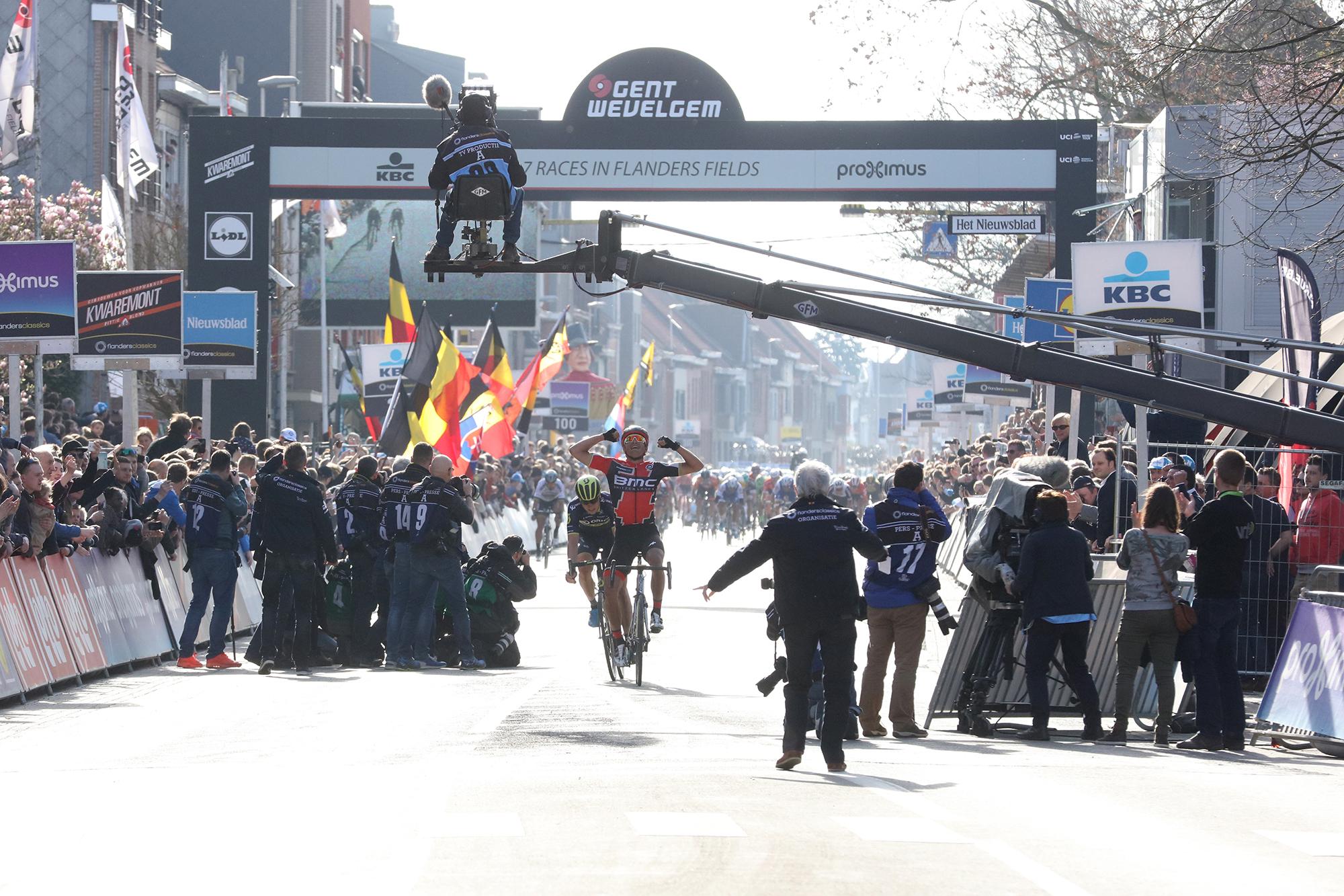Greg Van Avermaet obtuvo la victoria en la Gante Wevelgem 2017 (Foto: Masselis)
