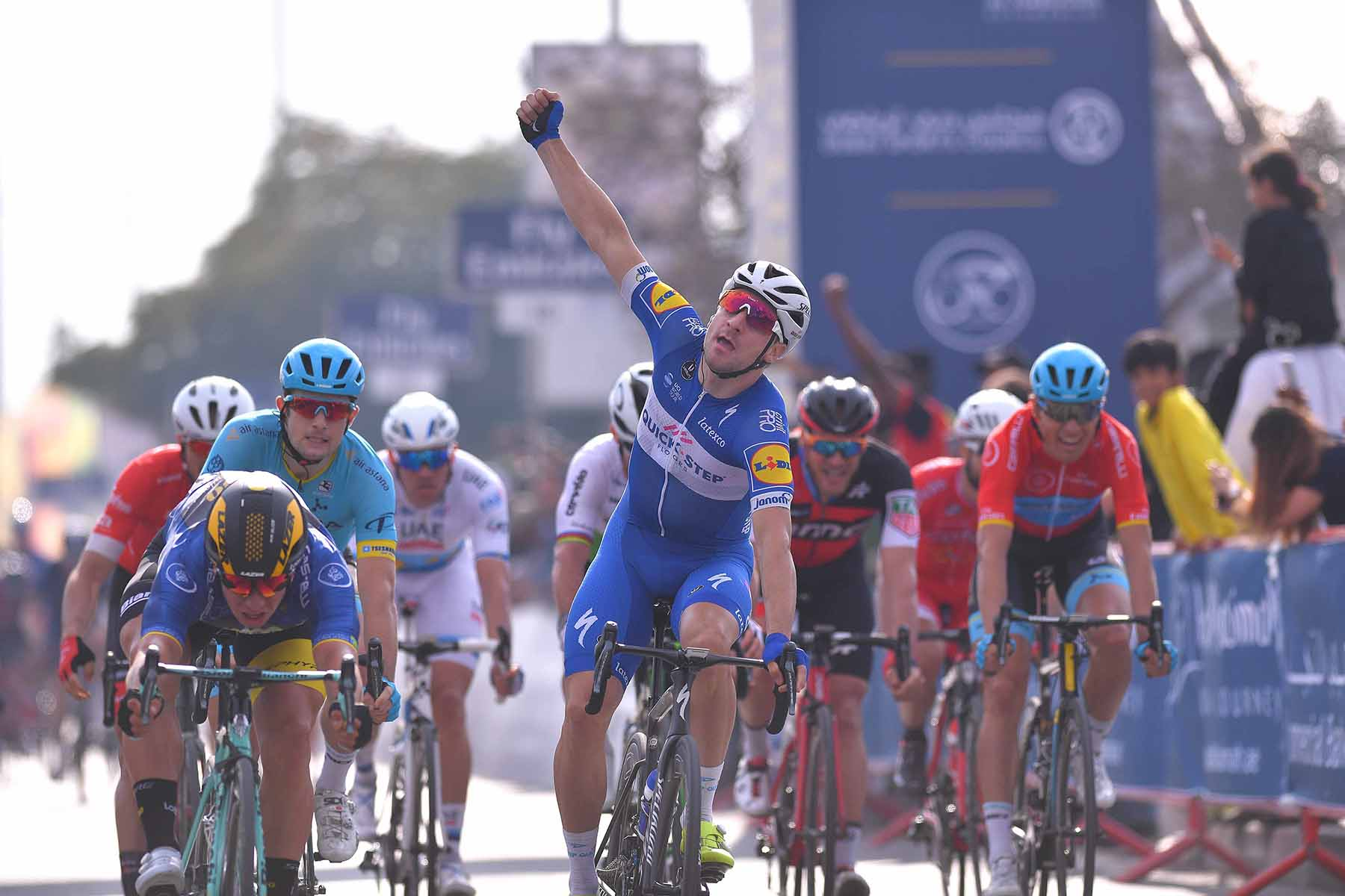 Cycling: 5th Tour Dubai 2018 / Stage 2 Arrival / Elia Viviani of Italy Celebration / Dylan Groenewegen of The Netherlands Blue Leader Jersey / Skydive Dubai - Al Khaimah (190km)/  Ras Al Khaimah Stage / Dubai Tour  / © Tim De Waele