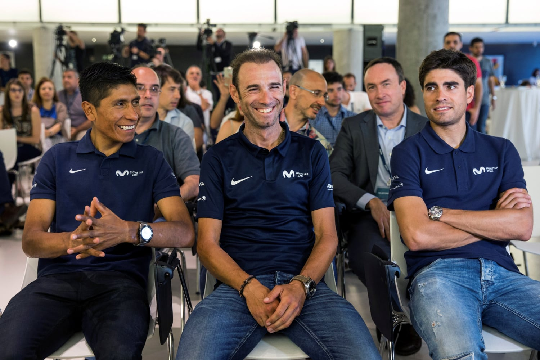 Los ciclistas Mikel Landa, Nairo Quintana y Alejandro Valverde, durante la presentación del equipo Movistar para el próximo Tour de Francia, esta mañana en Madrid (Fuente:EFE).