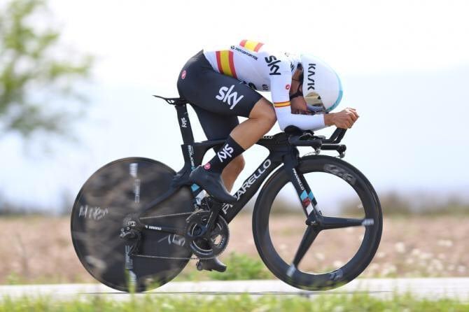 Jonathan Castroviejo, del Sky Team, logró revalidar su título de cómo Campeón Nacional de España contrarreloj al parar el reloj en 47:46 en la etapa en la localidad castellonense de Vall D'Alba sobre 37,5 kilómetros.
