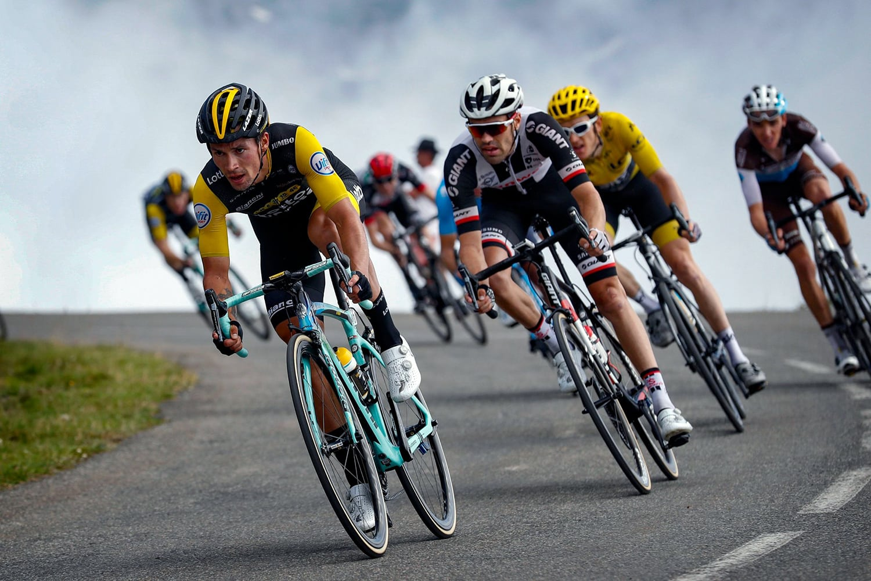 Primoz Roglic (Lotto Jumbo) y Tom Dumoulin (Sunweb) durante la etapa 19 del Tour de Francia 2018.