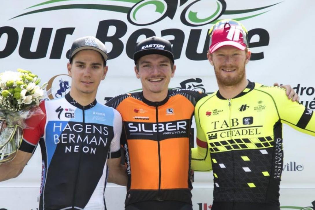 Pier-André Coté (centro) y John Murphy (derecha) durante el pasado Tour de Beauce. (Foto: Rally).