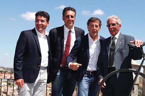 Carlos Sastre, Miguel Induráin, Pedro Delgado y Federico Bahamontes en el homenaje a este último en Toledo (Fuente: Fundación Sastre).
