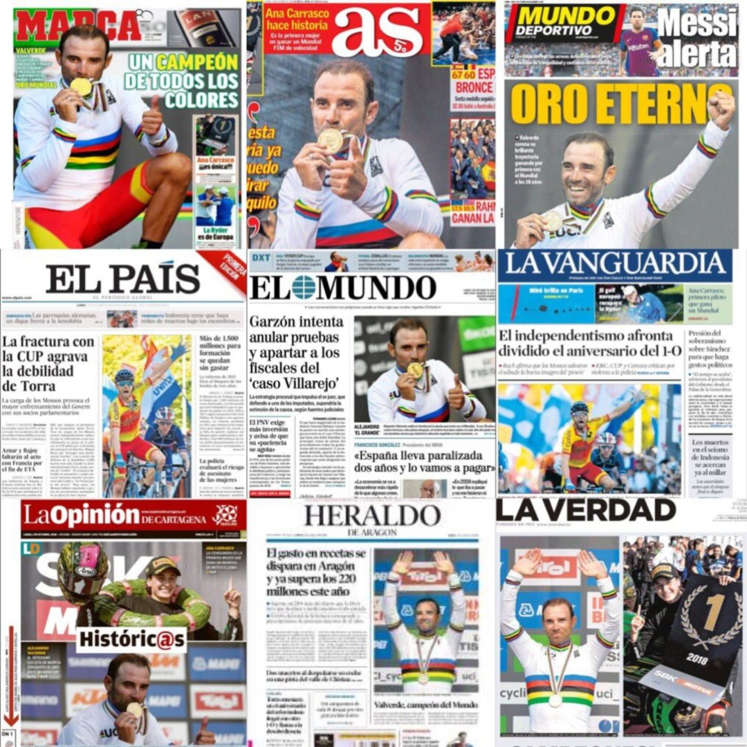 Las portadas de los periódicos después de la victoria de Valverde.