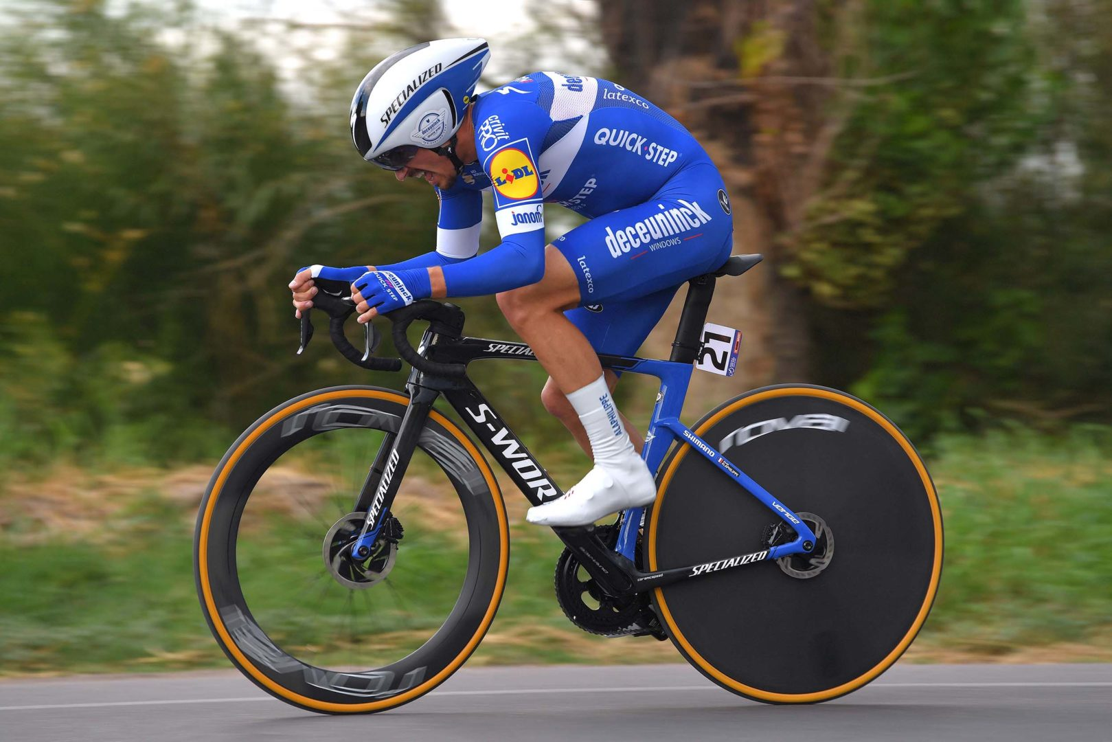 POCITO, ARGENTINA - JANUARY 29: Julian Alaphilippe of France and Deceuninck - Quick-Step Team / during the 37th Tour of San Juan 2019, Stage 3 a 12km Individual Time Trial stage from Pocito to Pocito / #VueltaSJ2019 / on January 29, 2019 in Pocito, Argentina. (Photo by Tim de Waele/Getty Images)