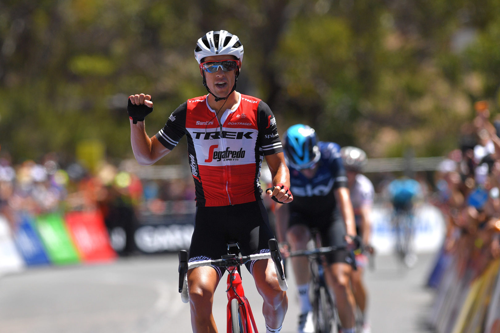 WILLUNGA HILL, AUSTRALIA - JANUARY 20: Arrival / Richie Porte of Australia and Team Trek-Segafredo Celebration / Wout Poels of The Netherlands and Team Sky / Daryl Impey of South Africa and Team Mitchelton-Scott / during the 21st Santos Tour Down Under 2019, Stage 6 a 151,5km stage from McLaren Vale to Willunga Hill 374m / TDU / on January 20, 2019 in Willunga Hill, Australia. (Photo by Tim de Waele/Getty Images)