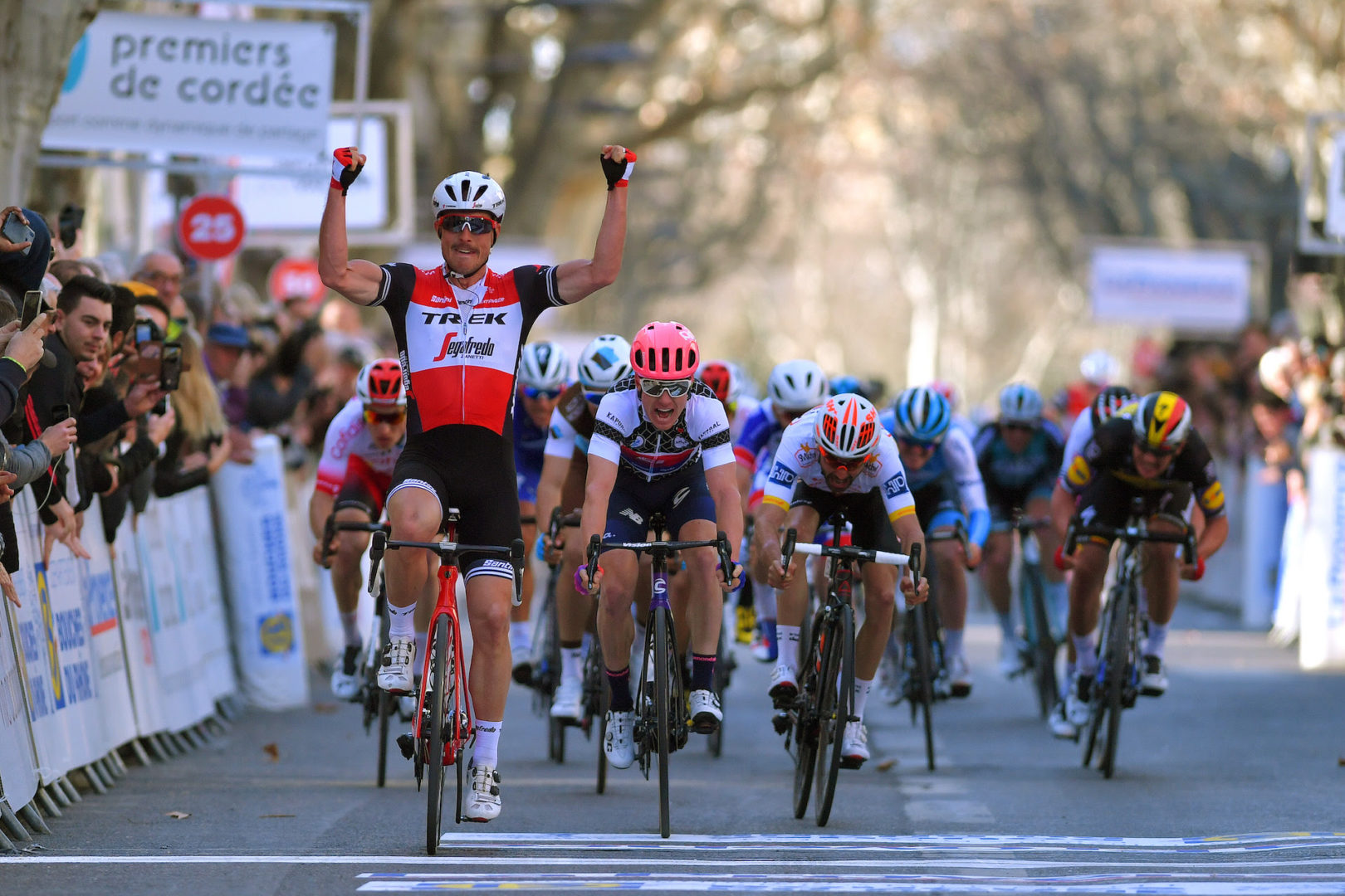 AIX-EN-PROVENCE, FRANCE - FEBRUARY 17: Arrival / John Degenkolb of Germany and Team Trek-Segafredo / Celebration / Simon Clarke of Australia and Team EF Education First White Sprint Jersey / Anthony Maldonado of France and Team St Michel - Auber 93 / during the 4th Tour de La Provence 2019, Stage 4 a 173,3km race from Avignon to Aix en Provence 188m / TDLP / @laprovence / on February 17, 2019 in Aix-en-Provence, France. (Photo by Luc Claessen/Getty Images)