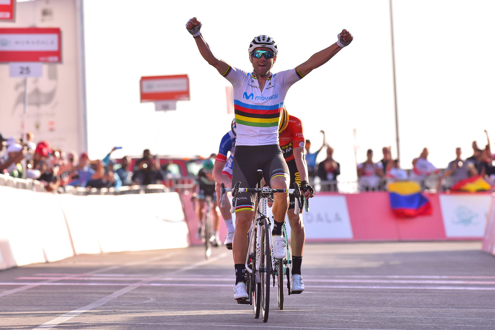 La única victoria de Valverde en 2019 fue en el UAE Tour.