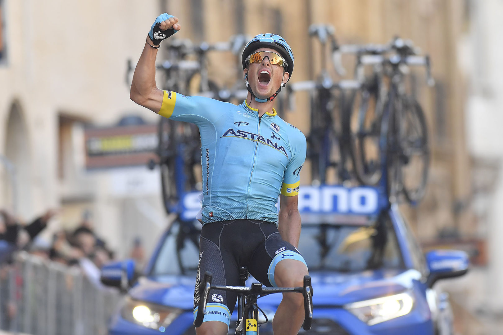 Foto LaPresse/Fabio Ferrari 17/03/2019 Colli al Matauro (Italia) Sport Ciclismo Tirreno-Adriatico 2019 - edizione 54 - da Colli al Metauro a Recanati (180 km) Nella foto: FUGLSANG Jakob (Astana) vincitore di tappaPhoto LaPresse/Fabio Ferrari March 17, 2018 Colli al Matauro (Italy) Sport Cycling Tirreno-Adriatico 2019 - edition 54 - Colli al Metauro a Recanati (111 miglia) In the pic: FUGLSANG Jakob (Astana)  winner of race
