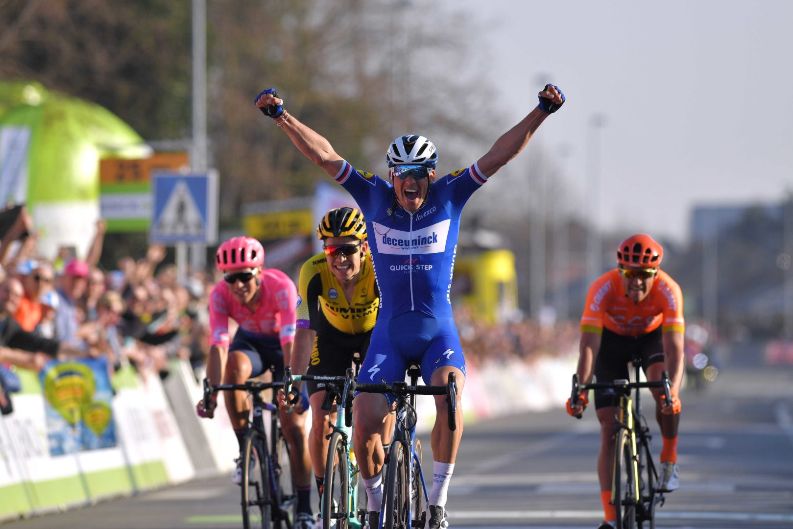 HARELBEKE, BELGIUM - MARCH 29: Arrival / Zdeněk Štybar of Czech Republic and Team Deceuninck - Quick-Step Celebration / Alberto Bettiol of Italy and Team Ef Education First / Greg Van Avermaet of Belgium and Ccc Team / Wout Van Aert of Belgium and Team Jumbo - Visma / during the 62nd E3 Harelbeke 2019 a 203,9km race from Harelbeke to Harelbeke / #E3BinckBankClassic / on March 29, 2019 in Harelbeke, Belgium. (Photo by Tim de Waele/Getty Images)