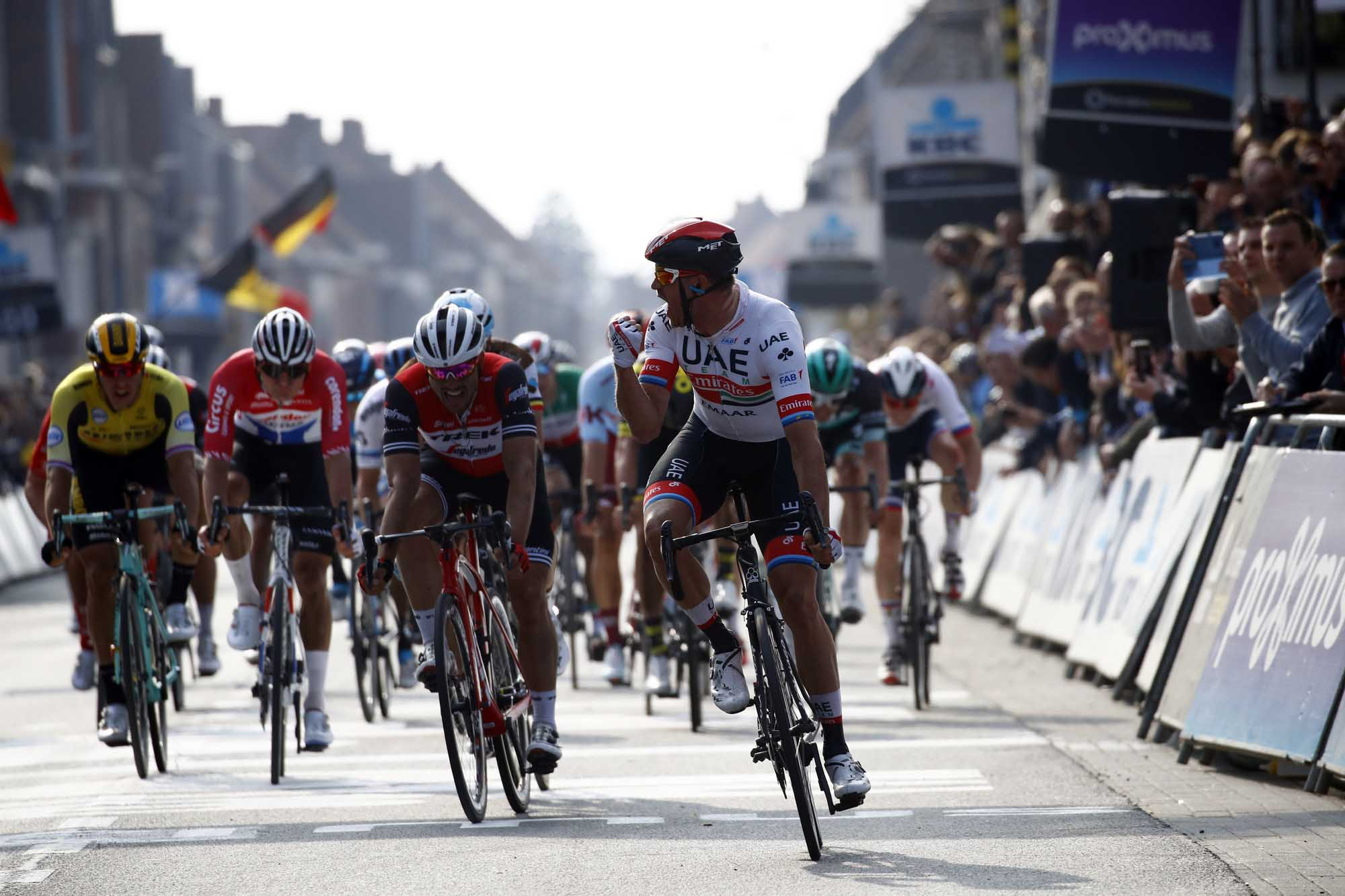 Gent-Wevelgem in Flanders Fields 2019 - 81st Edition - Deinze - Wevelgem  251.5 km - 31/03/2019 - Alexander Kristoff (NOR - UAE - Team Emirates) - John Degenkolb (GER - Trek - Segafredo) - photo Luca Bettini/BettiniPhoto©2018