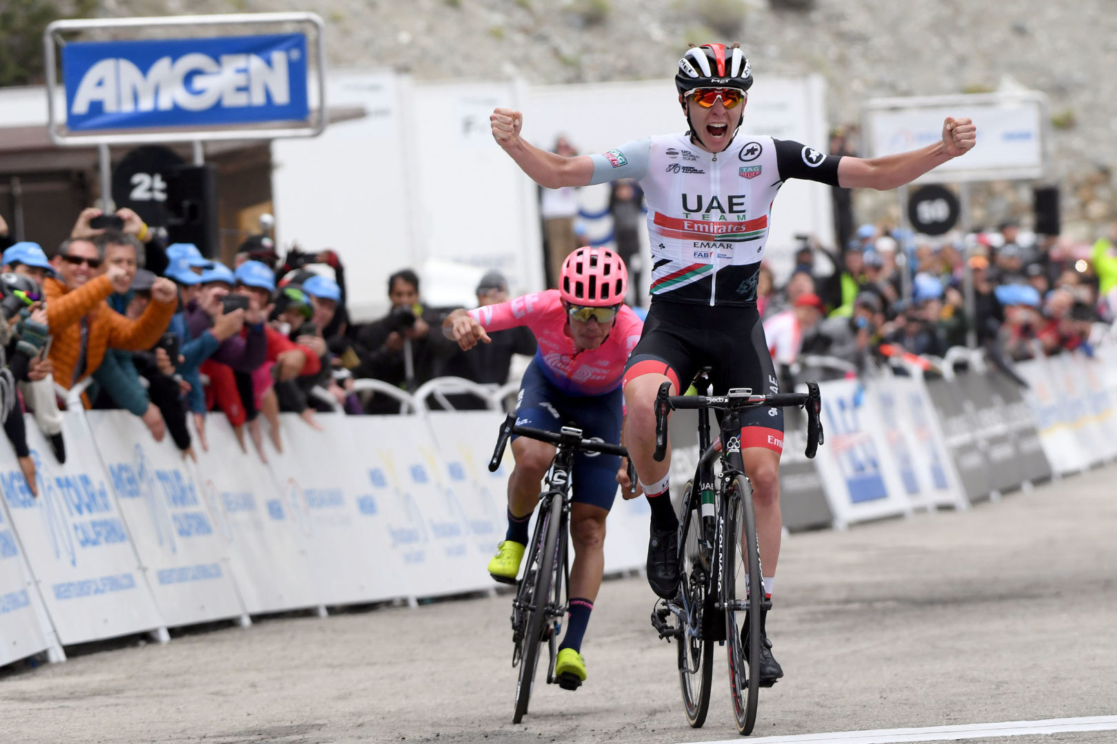 ONTARIO, CALIFORNIA - MAY 17:  Arrival / Celebration / Tadej Pogacar of Slovenia riding for UAE Team Emirates / Sergio Andres Higuita Garcia of Colombia riding for EF Education First during the 14th Amgen Tour of California 2019, Stage 6 a 127,5km stage from Ontario to Mt. Baldy 1959m / #AmgenTOC / @AmgenTOC / on May 17, 2019 in Ontario, United States. (Photo by Harry How/Getty Images)