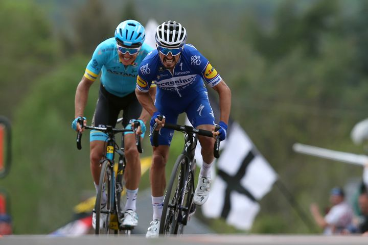 HUY, BELGIUM - APRIL 24: Sprint / Arrival / Julian Alaphilippe of France and Team Deceuninck - Quick-Step / Jakob Fuglsang of Denmark and Astana Pro Team / during the 83rd La Fleche Wallonne 2019 a 195,5km race from Ans to Mur de Huy 204m / TF / #FlecheWallonne / @flechewallonne / on April 24, 2019 in Huy, Belgium. (Photo by Gonzalo Arroyo Moreno/Getty Images)
