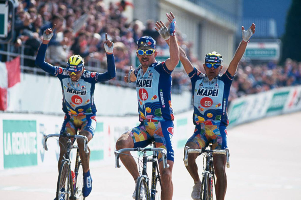 Andrea Tafi, Johan Museeuw y Gianluca Bortolami , Paris Roubaix de 1996
