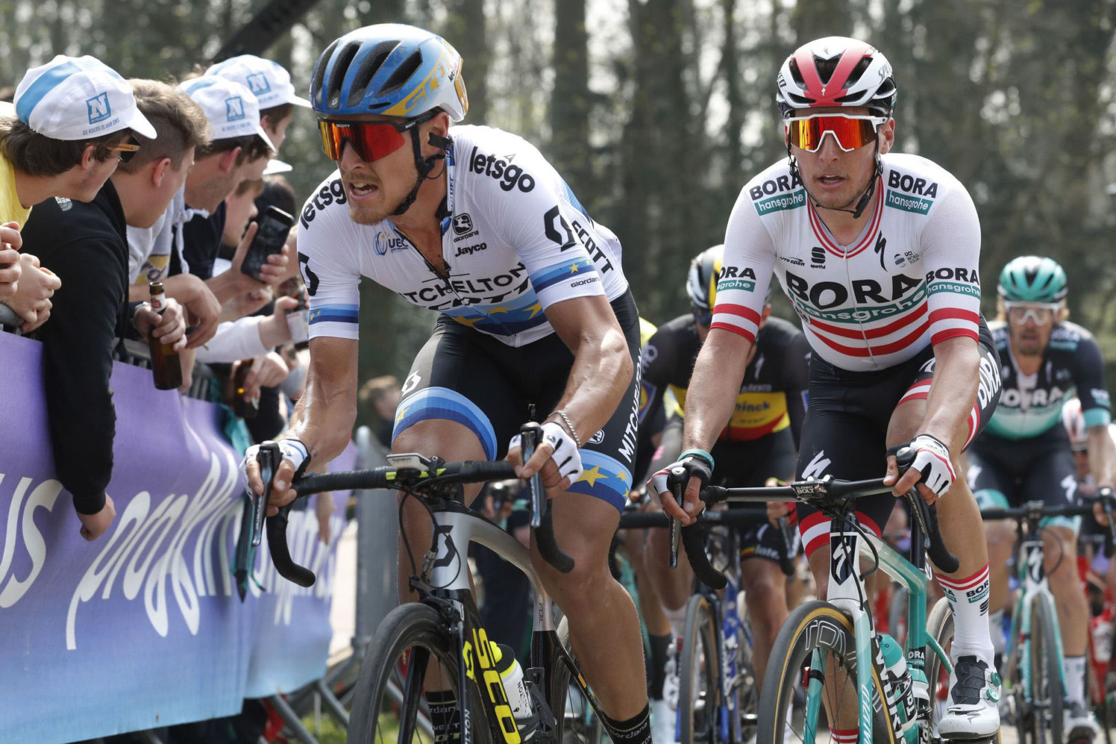 Giro delle Fiandre 2019 - Tour des Flandres  - Ronde van Vlaanderen - Antwerp - Oudenaarde 270 km - 07/04/2019 Matteo Trentin (ITA - Mitchelton - Scott) - Lukas Postlberger (AUT - Bora - Hansgrohe) - photo Peter De Voecht/PN/BettiniPhoto©2018