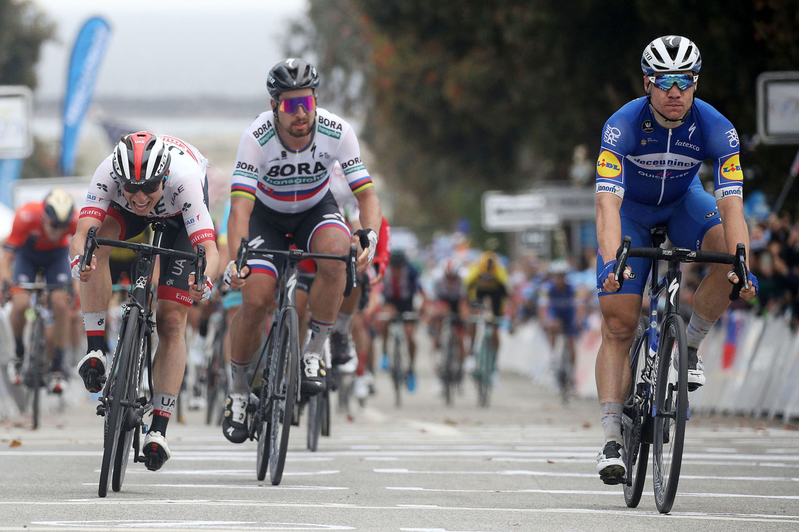 MORRO BAY, CALIFORNIA - MAY 15: Arrival / Sprint / Fabio Jakobsen of The Netherlands and Team Deceuninck - Quick-Step / Jasper Philipsen of Belgium and UAE - Team Emirates / Peter Sagan of Slovakia and Team Bora-Hansgrohe /  during the 14th Amgen Tour of California 2019, Stage 4 a 214,5km stage from Weathertech Raceway Laguna Seca to Morro Bay / #AmgenTOC / @AmgenTOC / on May 15, 2019 in Morro Bay, California. (Photo by Chris Graythen/Getty Images)