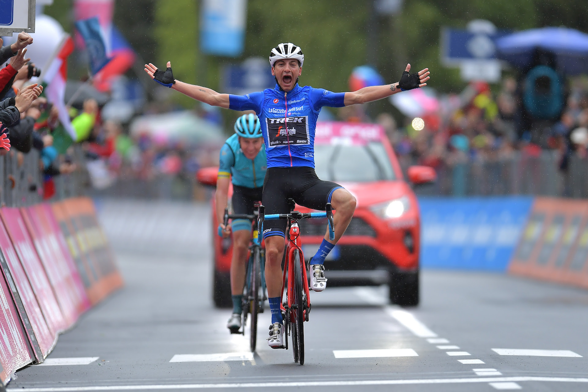 LOVERE, ITALY - MAY 28: Arrival / Giulio Ciccone of Italy and Team Trek - Segafredo Blue Mountain Jersey Celebration / Jan Hirt of Czech Republic and Astana Pro Team / during the 102nd Giro d'Italia 2019, Stage 16 a 194km stage from Lovere to Ponte di Legno 1254m / Tour of Italy / #Giro / @giroditalia / on May 28, 2019 in Lovere, Italy. (Photo by Justin Setterfield/Getty Images)