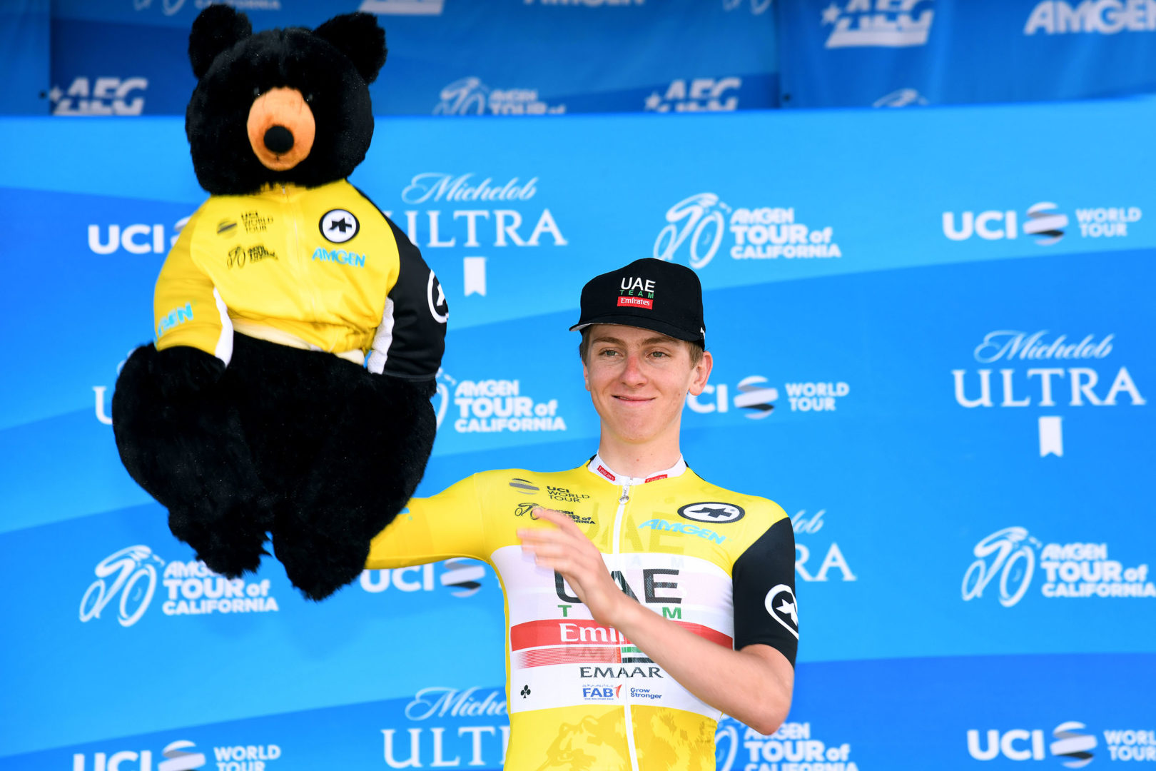 PASADENA, CALIFORNIA - MAY 18:  Podium / Celebration / Amgen Race Leader Jersey / Tadej Pogacar of Slovenia riding for UAE Team Emirates and overall winner / during the 14th Amgen Tour of California 2019, Stage 7 a 126km stage from Santa Clarita to Pasadena / #AmgenTOC / @AmgenTOC / on May 18, 2019 in Pasadena, California. (Photo by Harry How/Getty Images)