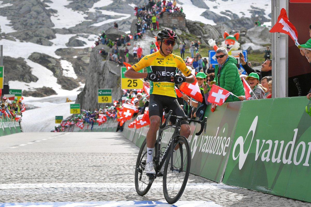 Bernal se impuso en la séptima etapa del Tour de Suiza 2019..