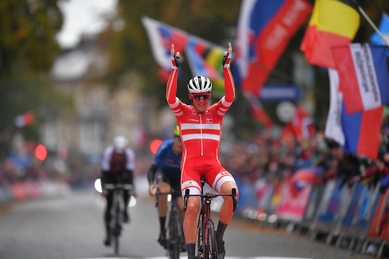 HARROGATE, ENGLAND - SEPTEMBER 29: Arrival / Mads Pedersen of Denmark / Celebration / during the 92nd UCI Road World Championships 2019, Men Elite Road Race a 261,8km race from Leeds to Harrogate 125m / RR / @Yorkshire2019 / #Yorkshire2019 / on September 29, 2019 in Harrogate, England. (Photo by Tim de Waele/Getty Images)