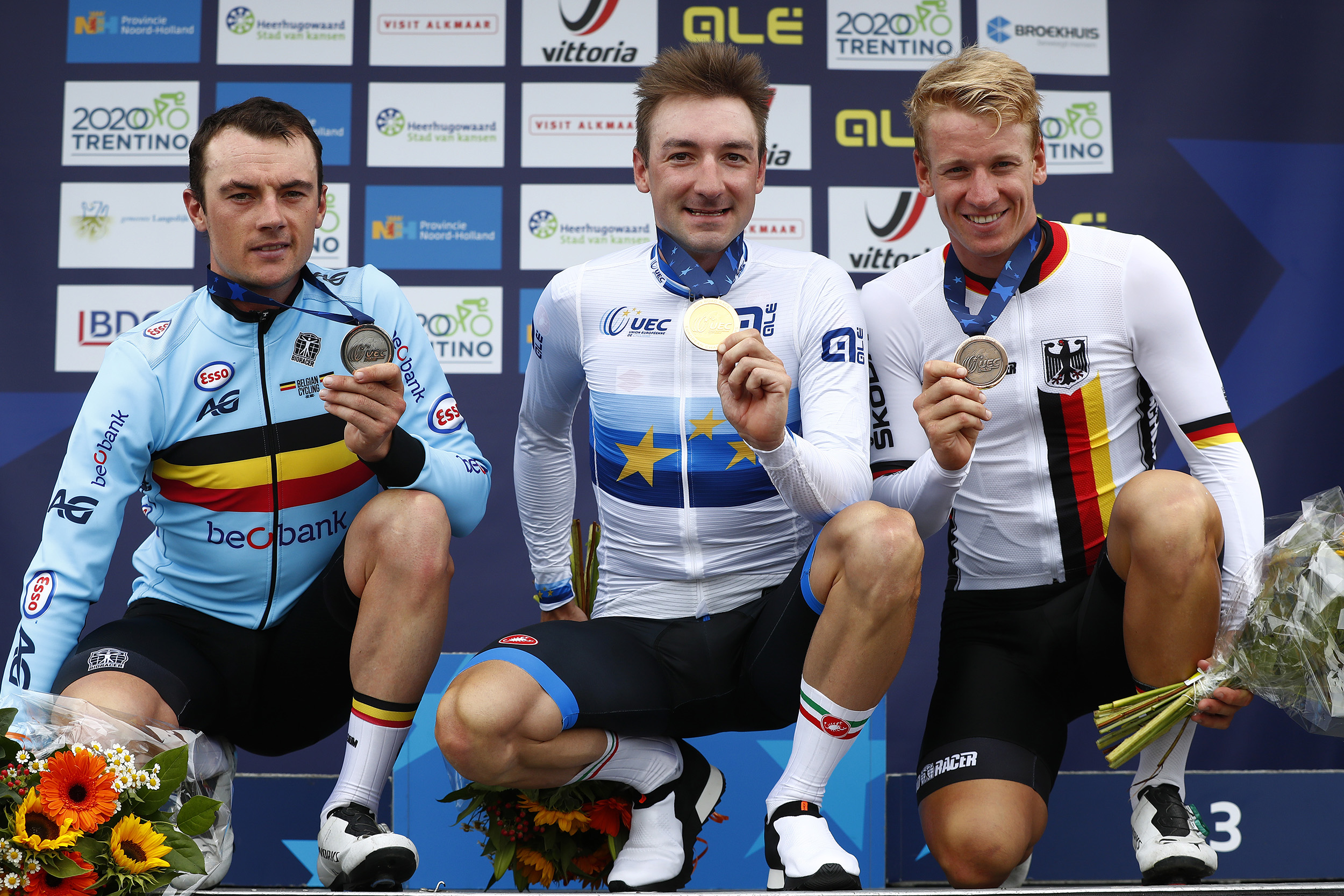 ALKMAAR, NETHERLANDS - AUGUST 11: Podium / Yves Lampaert of Belgium Silver Medal / Elia Viviani of Italy Gold Medal / Pascal Ackermann of Germany Bronze Medal / Celebration / during the 25th UEC Road European Championships 2019 - Elite Men's Road Race a 172,6km race from Alkmaar to Alkmaar / #EuroRoad19 / on August 11, 2019 in Alkmaar, Netherlands. (Photo by Bas Czerwinski/Getty Images)
