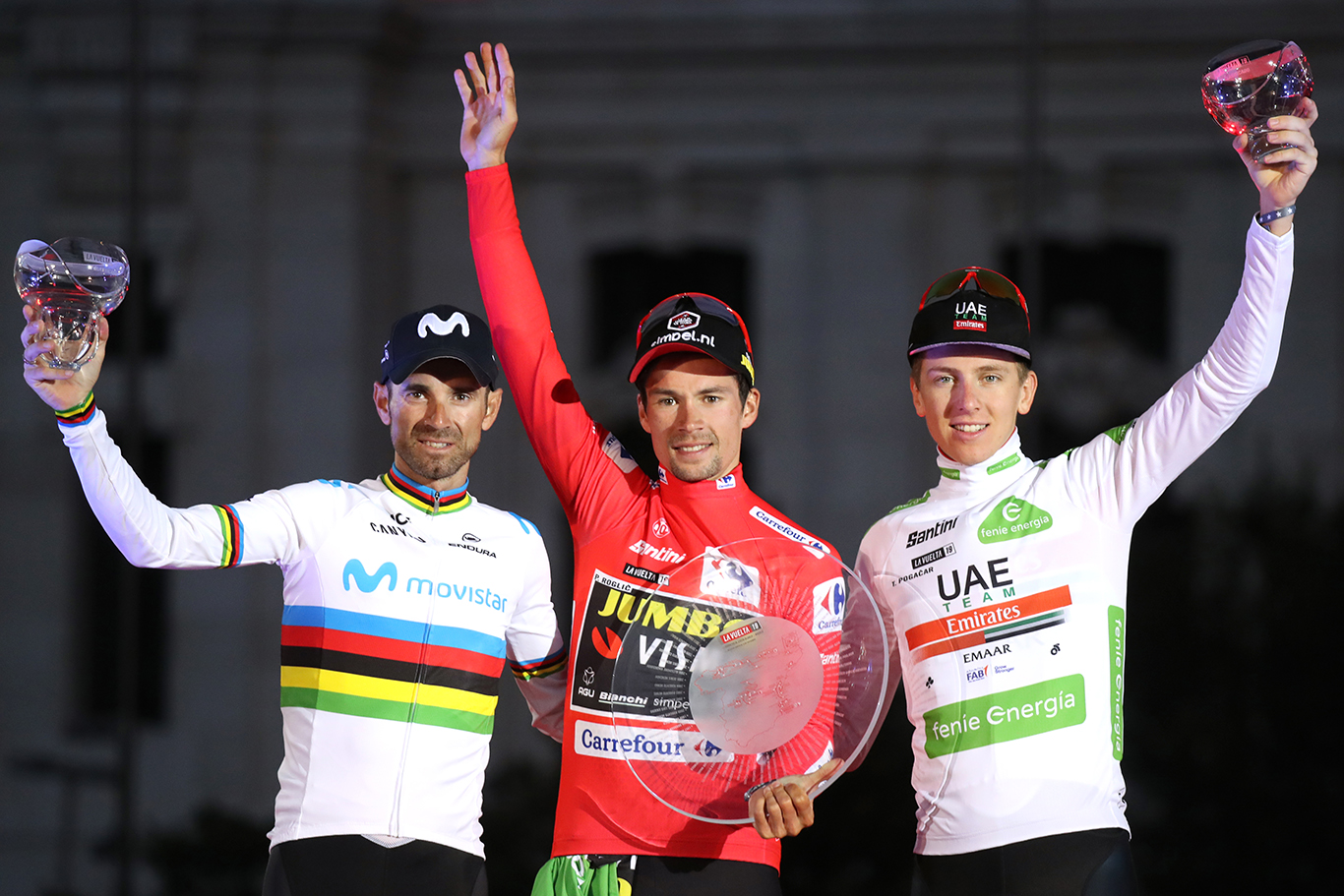 Cycling: Vuelta Espana 2019 / Tour of Spain 2019/ La Vuelta/ Etapa 21/ Stage 21/ .PODIUM/ CELEBRACION CELEBRATION/ MAILLOT ROJO LIDER/ RED LEADER JERSEY/ ROGLIC Primoz (SLO)/ VALVERDE Alejandro (ESP)/ MAILLOT BLANCO MEJOR CORREDOR JOVEN/ WHITE BEST YOUNG RIDER JERSEY/ POGACAR Tadej (SLO).Fuenlabrada - Madrid (106,6 km) 15-09-2019/.Vuelta Espana 2019 / La Vuelta/ Tour of Spain 2019/.Luis Angel Gomez .©PHOTOGOMEZSPORT2019