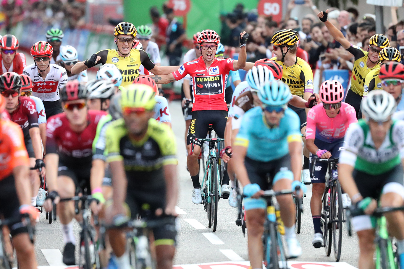 Cycling: Vuelta Espana 2019 / Tour of Spain 2019/ La Vuelta/ Etapa 21/ Stage 21/ .LLEGADA/ ARRIVAL/ SPRINT/ CELEBRACION CELEBRATION/ ROGLIC Primoz (SLO).Fuenlabrada - Madrid (106,6 km) 15-09-2019/.Vuelta Espana 2019 / La Vuelta/ Tour of Spain 2019/.Luis Angel Gomez .©PHOTOGOMEZSPORT2019
