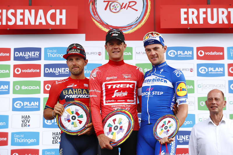 ERFURT, GERMANY - SEPTEMBER 01: Podium / Sonny Colbrelli of Italy and Team Bahrain - Merida / Jasper Stuyven of Belgium and Team Trek-Segafredo Red Leader Jersey / Yves Lampaert of Belgium and Team Deceuninck - Quick-Step / Celebration / Trophy / during the 34th Deutschland Tour 2019, Stage 4 a 159,9km stage from Eisenach to Erfurt / @DeineTour / #DeutschlandTour / on September 01, 2019 in Erfurt, Germany. (Photo by Bas Czerwinski/Getty Images)