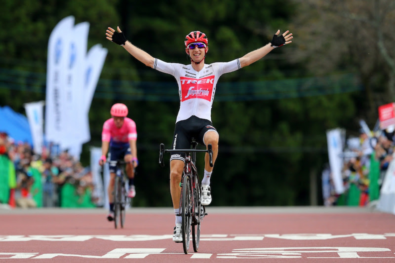 UTSUNOMIYA, JAPAN - OCTOBER 20: Arrival / Bauke Mollema of Netherlands and Team Trek-Segafredo / Celebration / Michael Woods of Canada and Team EF Education First / during the 28th Japan Cup 2019, Cycle Road Race a 144,2km race from Utsunomiya to Utsunomiya / @Japancup_ofc / on October 20, 2019 in Utsunomiya, Japan. (Photo by Kei Tsuji/Getty Images)