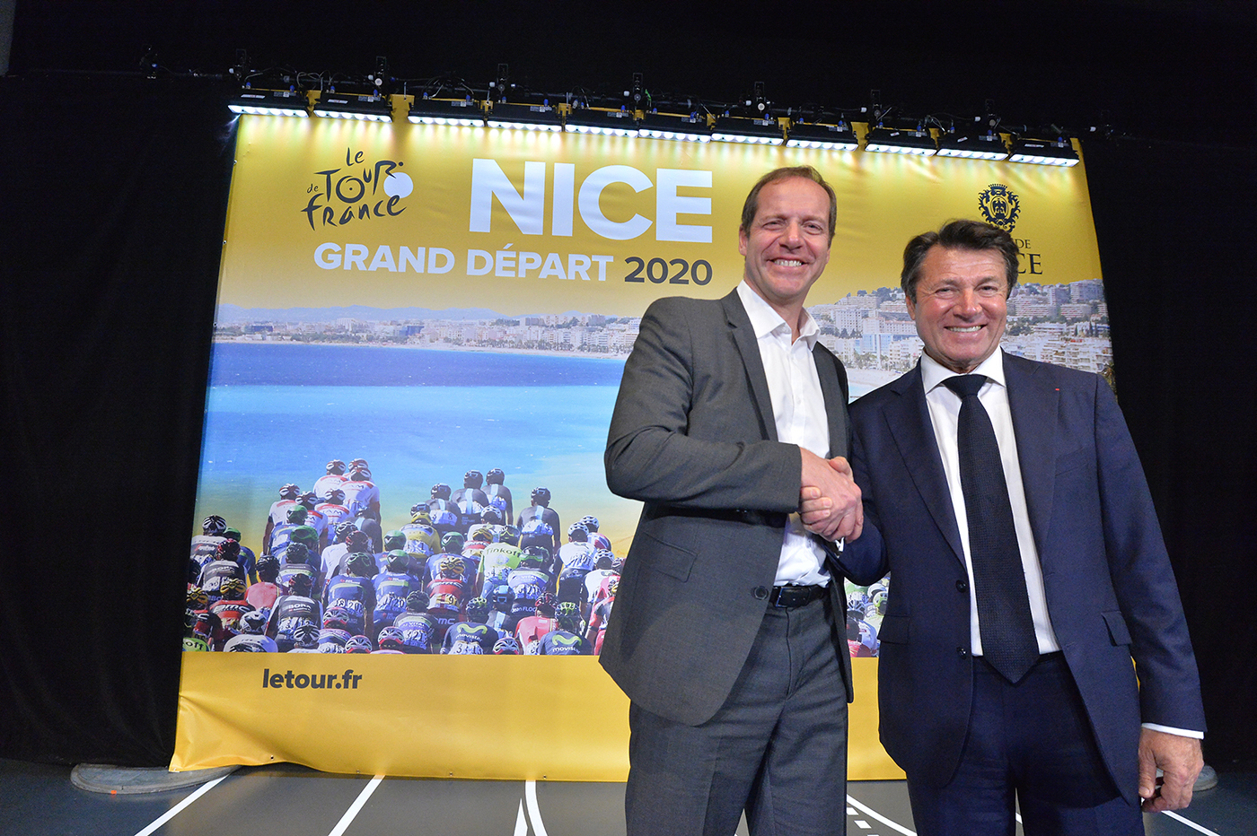 12/03/2018 - Tour de France - Conference Grand depart 2020 - Christian Prudhomme - directeur du Tour de France, Christian Estrosi, maire de Nice