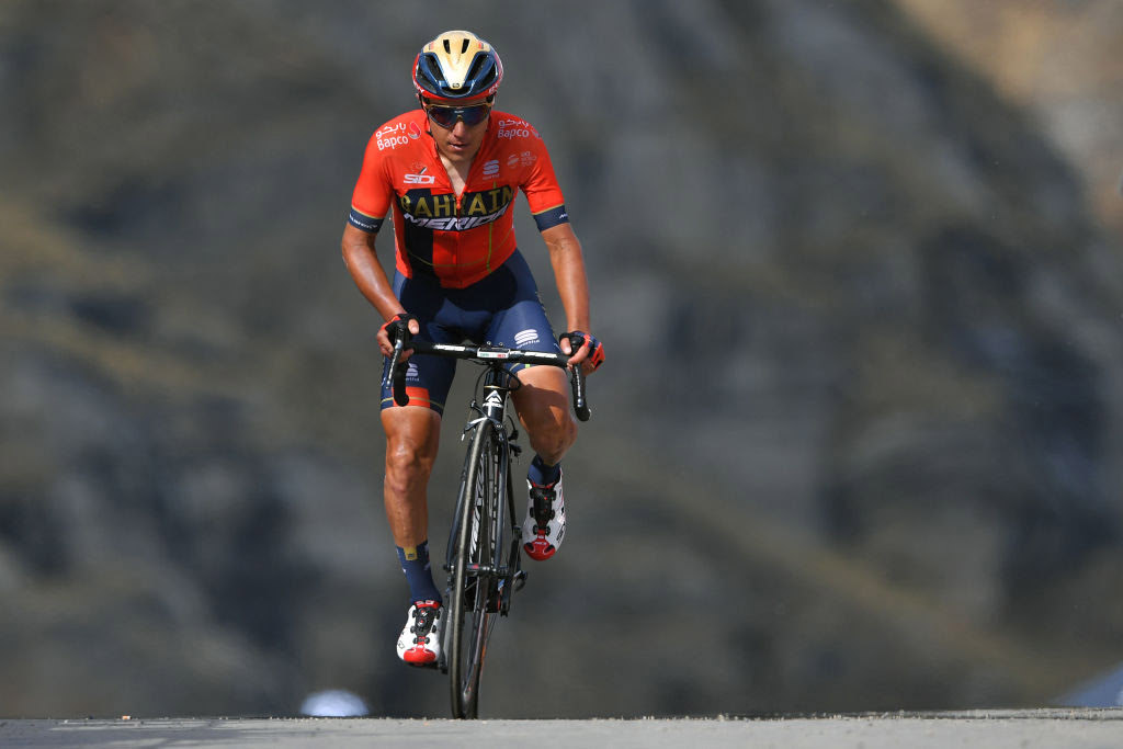 CERESOLE REALE, ITALY - MAY 24: Arrival / Domenico Pozzovivo of Italy and Team Bahrain - Merida / during the 102nd Giro d'Italia 2019, Stage 13 a 196km stage from Pinerolo to Ceresole Reale (Lago Serrù) 2247m / on May 24, 2019 in Pinerolo, Italy. (Photo by Tim de Waele/Getty Images)