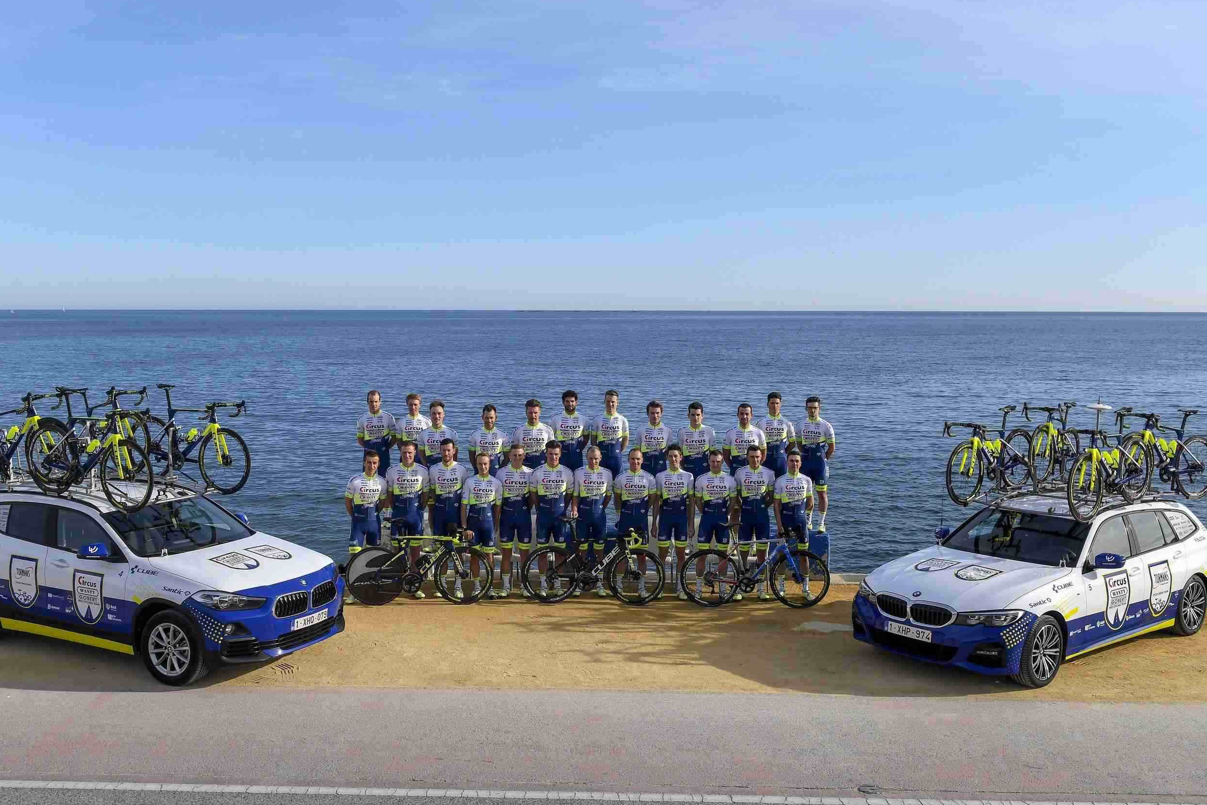 ALFAZ DEL PI, SPAIN - JANUARY 17 : Team picture of the Circus - Wanty Gobert pro cycling team 2020 during a team training winter session of the Circus - Wanty Gobert pro cycling team 2020 on January 17, 2020 in Alfaz Del Pi, Spain, 17/01/2020 ( Photo by Nico Vereecken / Photo News
