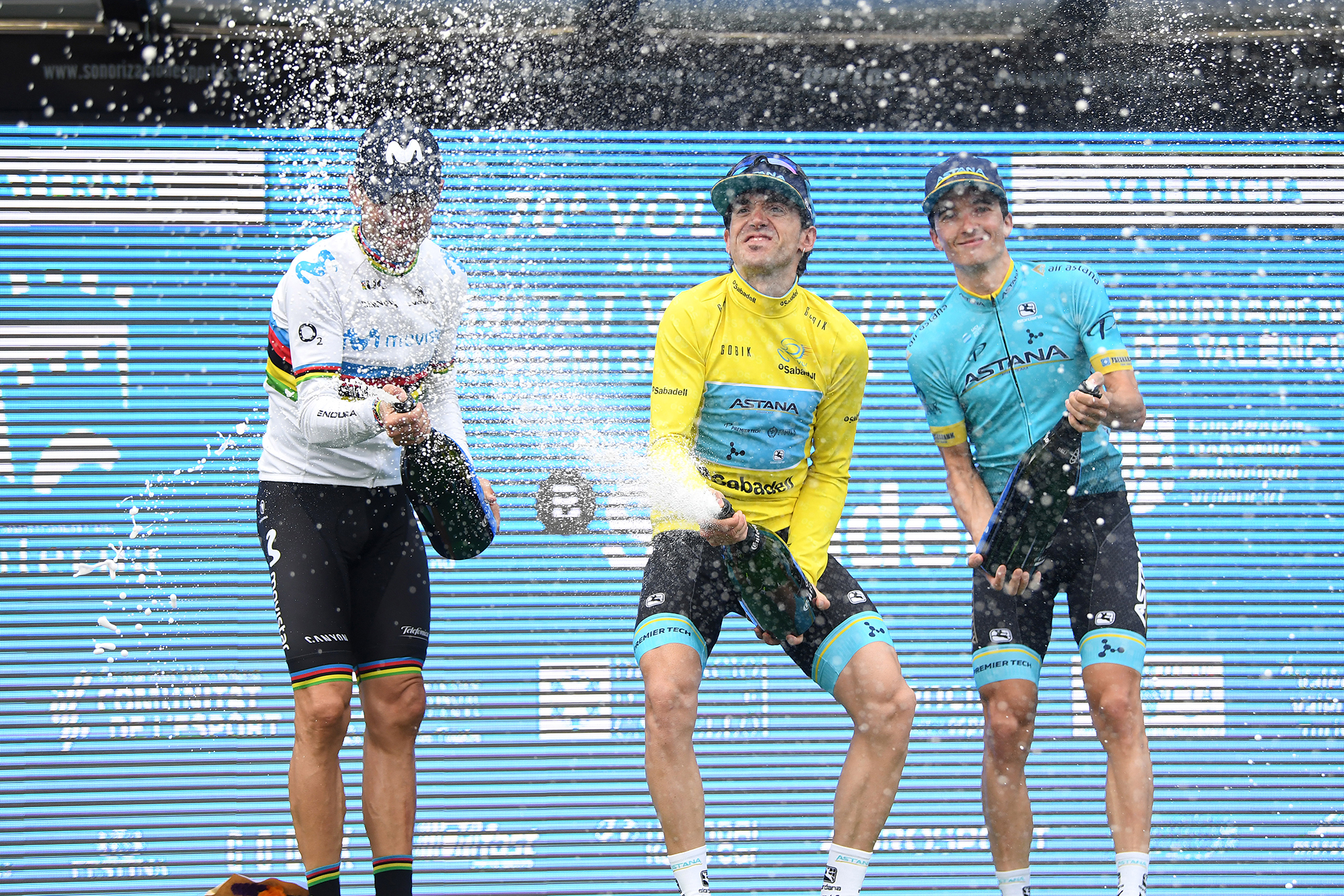 VALENCIA, SPAIN - FEBRUARY 10: Podium / Alejandro Valverde of Spain and Movistar Team / Ion Izaguirre of Spain and Astana Pro Team Yellow Leader Jersey / Pello Bilbao of Spain and Astana Pro Team / Celebration / Champagne / during the 70th Volta a la Comunitat Valenciana 2019, Stage 5 a 88,5km stage from Paterna to Valencia VCV / @VueltaCV / on February 10, 2019 in Valencia, Spain. (Photo by David Ramos/Getty Images)