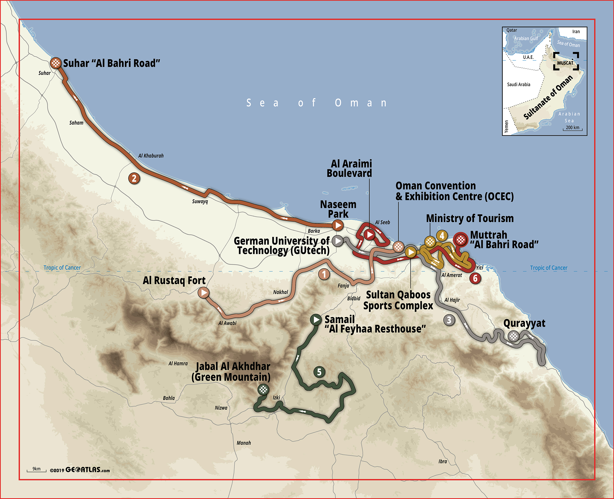 El Tour de Omán anuncia su recorrido 2020