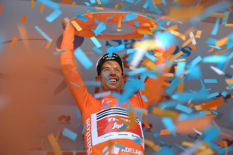 WILLUNGA HILL, AUSTRALIA - JANUARY 26: Podium / Richie Porte of Australia and Team Trek-Segafredo Orange Leader Jersey / Celebration / Trophy / during the 22nd Santos Tour Down Under 2020, Stage 6 a 151,5km stage from McLaren Vale to Willunga Hill 374m  / TDU / @tourdownunder / #UCIWT / on January 26, 2020 in Willunga Hill, Australia. (Photo by Tim de Waele/Getty Images)