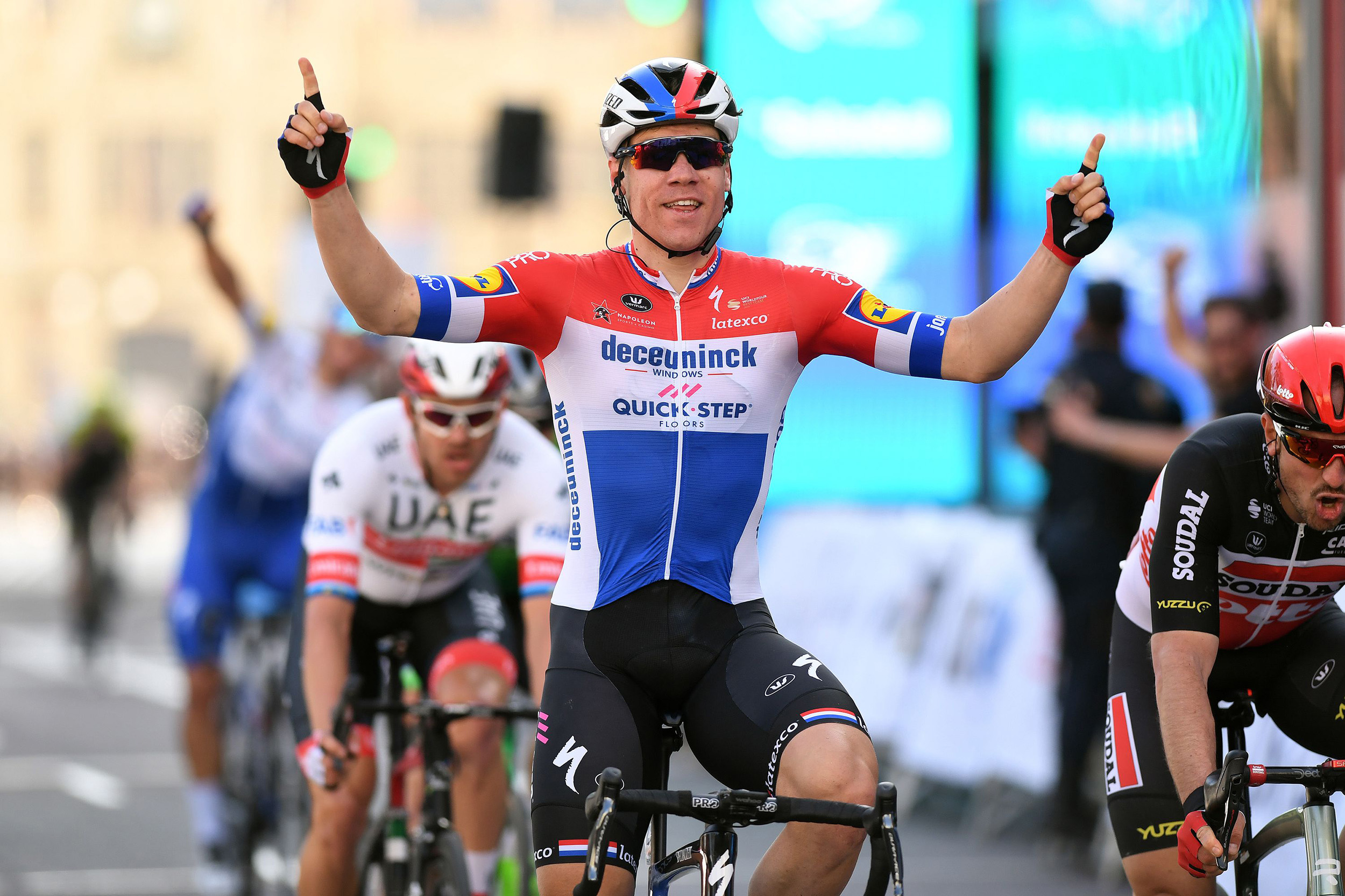 VALENCIA, SPAIN - FEBRUARY 09: Arrival / Fabio Jakobsen of The Netherlands and Team Deceuninck - Quick-Step / Celebration / during the 71st Volta a la Comunitat Valenciana 2020, Stage 5 a 97,7km stage from Paterna - Valencia / @VueltaCV / #VCV2020 / on February 09, 2020 in Valencia, Spain. (Photo by David Ramos/Getty Images)