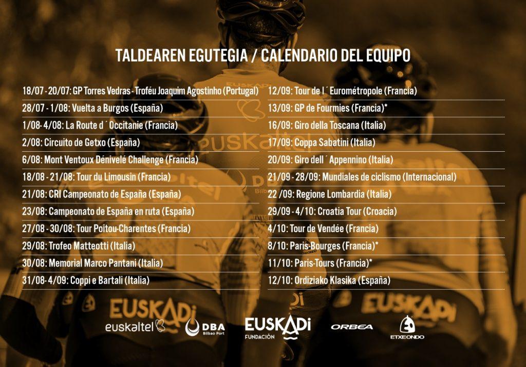 Calendario Euskaltel Euskadi 2020