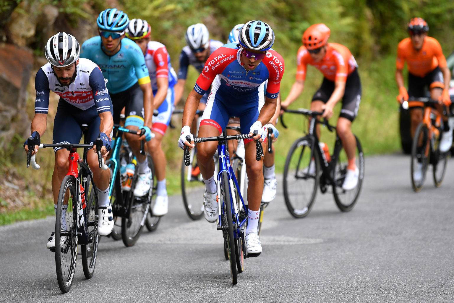 SARRANCOLIN, FRANCE - AUGUST 03: Julien Bernard of France and Team Trek - Segafredo / Lilian Calmejane of France and Team Total Direct Energie / Harold Tejada Canacue of Colombia and Astana Pro Team / Benoit Cosnefroy of France and Team Ag2R La Mondiale / Matthieu Ladagnous of France and Team Groupama - FDJ / Joan Bou of Spain and Team Fundacion - Orbea / Julien Trarieux of France and Team Nippo Delko Provence / Georg Zimmermann of Germany and CCC Team / during the 44th La Route d'Occitanie - La Depeche du Midi 2020, Stage 3 a 163,5km stage from  Saint Gaudens to Col de Beyrède 1417m / @RouteOccitanie / #RDO2020 / on August 03, 2020 in Sarrancolin, France. (Photo by Justin Setterfield/Getty Images)