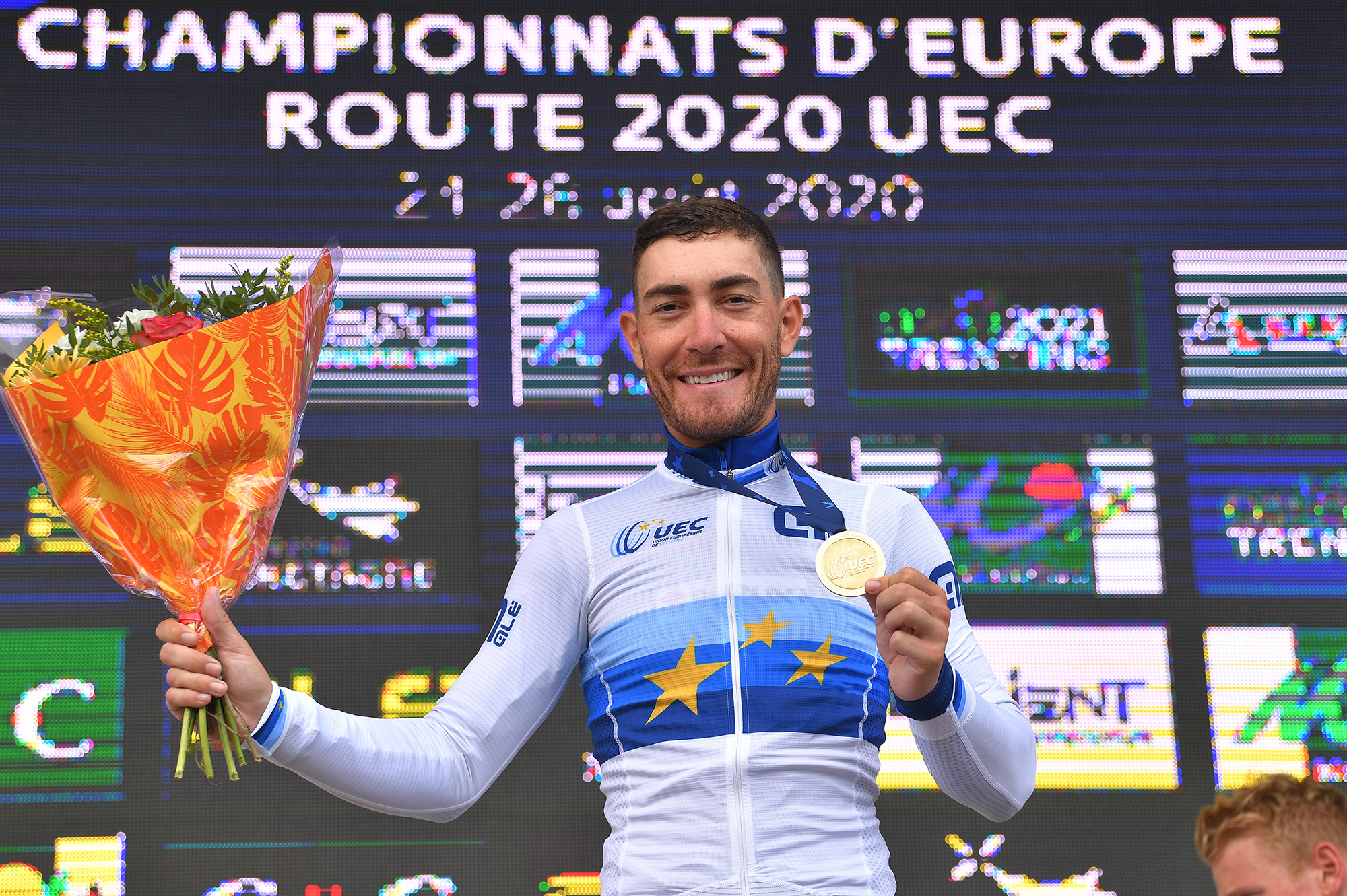 PLOUAY, FRANCE - AUGUST 26: Podium / Giacomo Nizzolo of Italy Gold Medal European Champion Jersey / Celebration / during the 26th UEC Road European Championships 2020, Men's Elite a 177,45km race from Plouay to Plouay / @UEC_cycling / #EuroRoad20 / on August 26, 2020 in Plouay, France. (Photo by Luc Claessen/Getty Images)