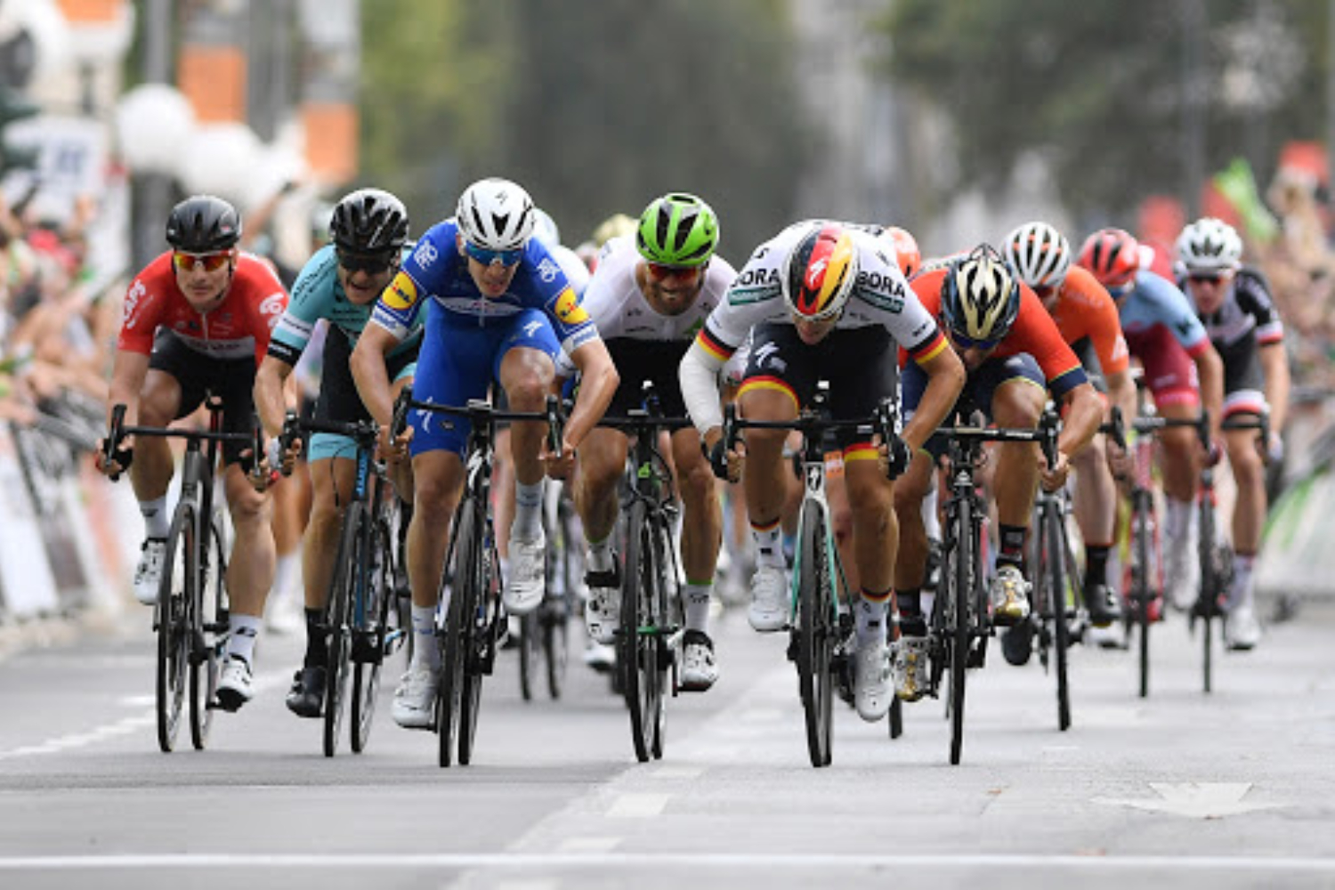 BONN, GERMANY - AUGUST 23: Arrival / Sprint / Alvaro Jose Hodeg of Colombia and Team Quick-Step Floors / Pascal Ackermann of Germany and Team Bora Hansgrohe / Niccolo Bonifazio of Italy and Bahrain Merida Pro Team / Alexander Krieger of Germany and Team Leopard Pro Cycling / during the 33rd Deutschland Tour 2018, a 157km stage from Koblenz to Bonn / Deine Tour / on August 23, 2018 in Bonn, Germany. (Photo by Justin Setterfield/Getty Images)
