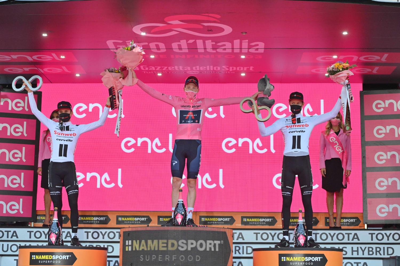 Pódium final del Giro de Italia 2020