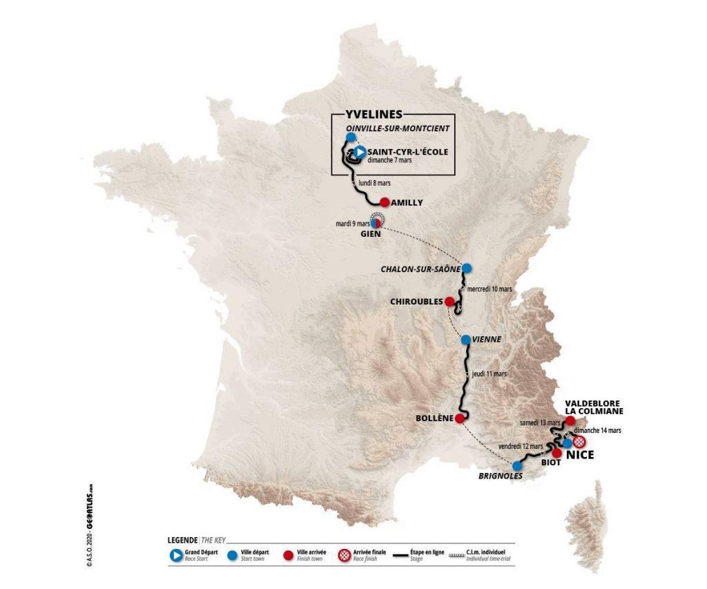 Mapa Paris - Niza 2021