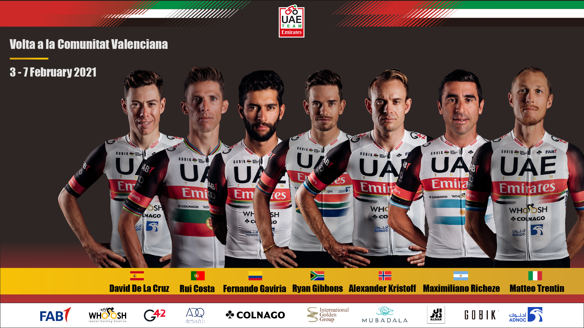 El UAE Emirates va con un potente equipo a la Vuelta de la Comunidad Valenciana.