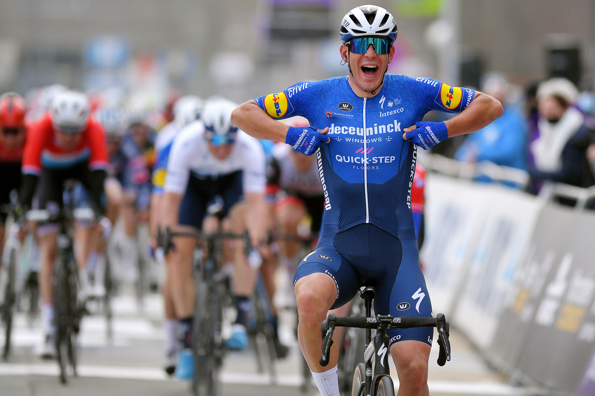 NINOVE, BELGIUM - FEBRUARY 27: Arrival / Davide Ballerini of Italy and Team Deceuninck - Quick-Step Celebration, during the 76th Omloop Het Nieuwsblad 2021, Men's Race a 200,5km race from Ghent to Ninove / @OmloopHNB / #OHN21 / @FlandersClassic / on February 27, 2021 in Ninove, Belgium. (Photo by Luc Claessen/Getty Images)