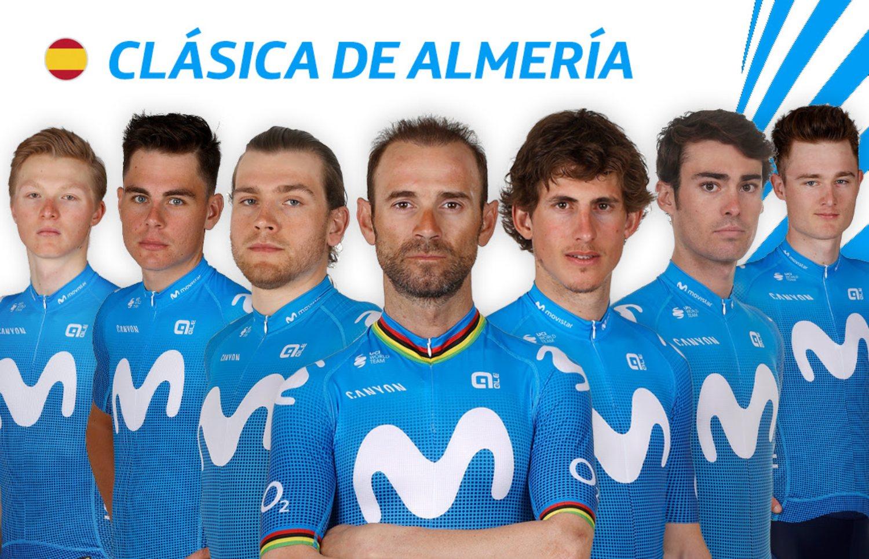 Alineación del Movistar en la Clásica Almería 2021.